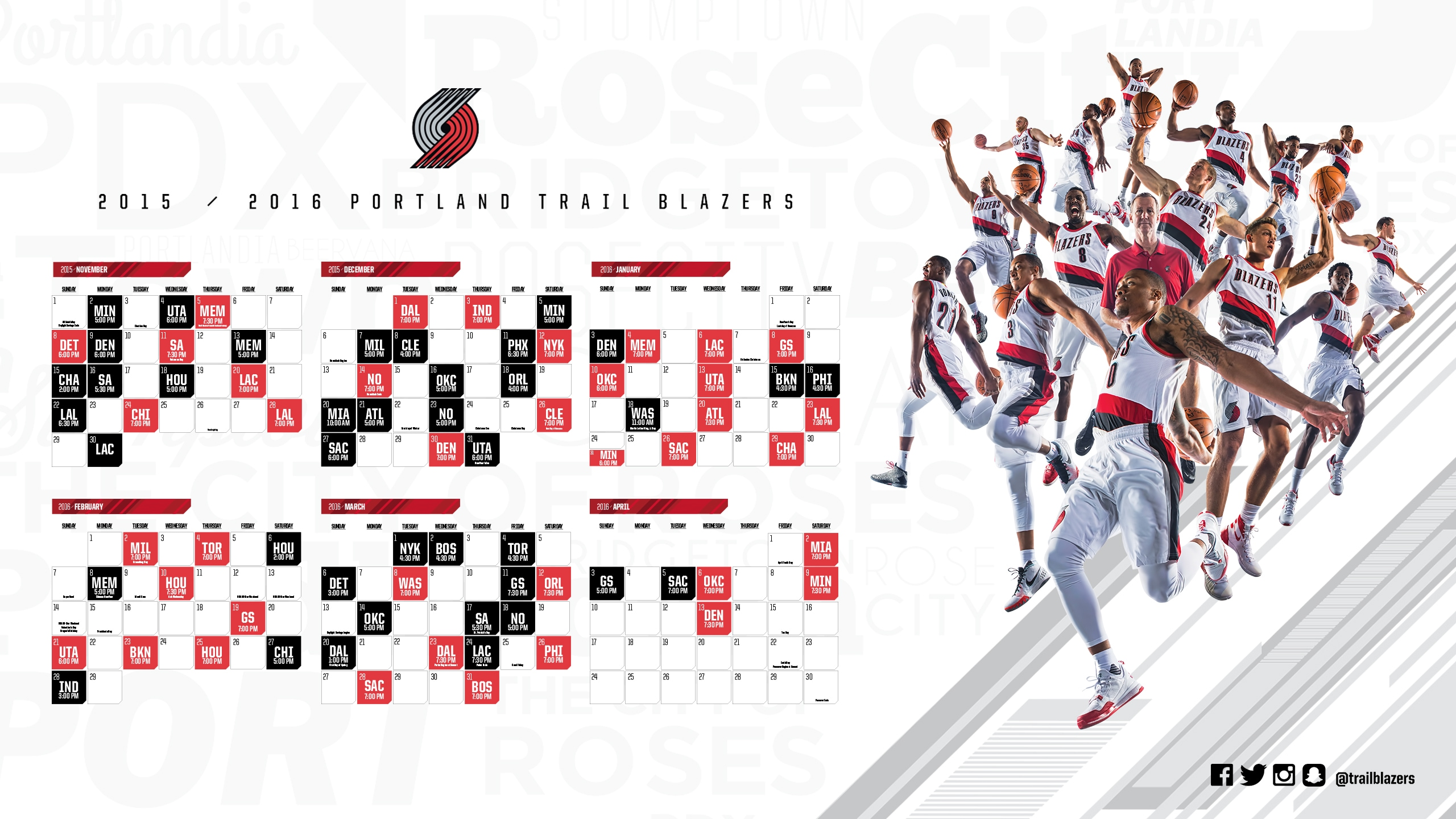 looking for a blazers 2016-2017 schedule wallpaper. something like