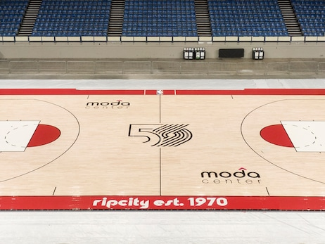 Trail Blazers Unveil New Court Celebrating The 50th Anniversary Season