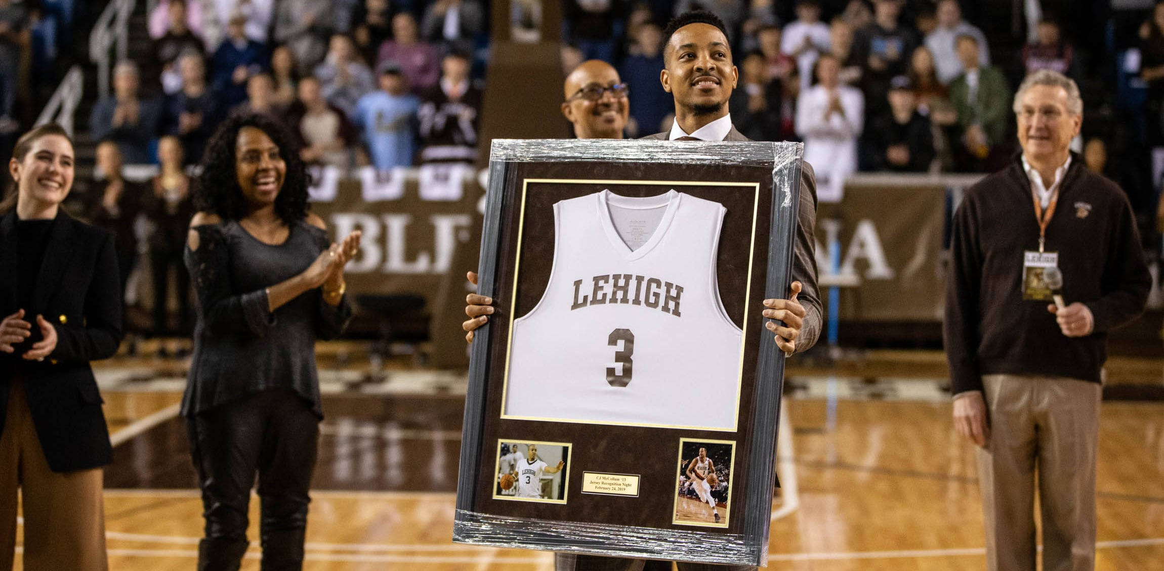 McCollum Returns To The Scene Of  A Lot Of Late Nights  For Lehigh Jersey  Retirement  fbeb6464a