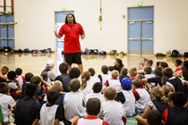 Brian Grant speaks to kids