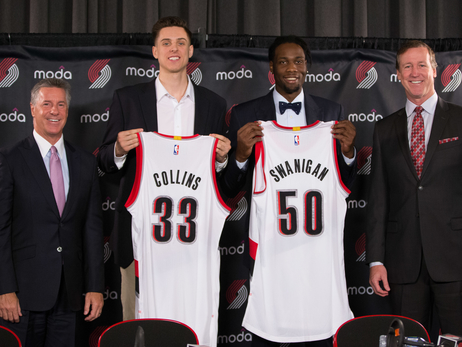 Trail Blazers Exercise Team Options on Zach Collins,  Caleb Swanigan