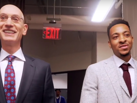 CJ McCollum Tours The NBA Draft With Commissioner Adam Silver