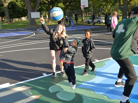 Bucks and the Froedtert & the Medical College of Wisconsin health network unveil refurbished court & CARE-A-VAN