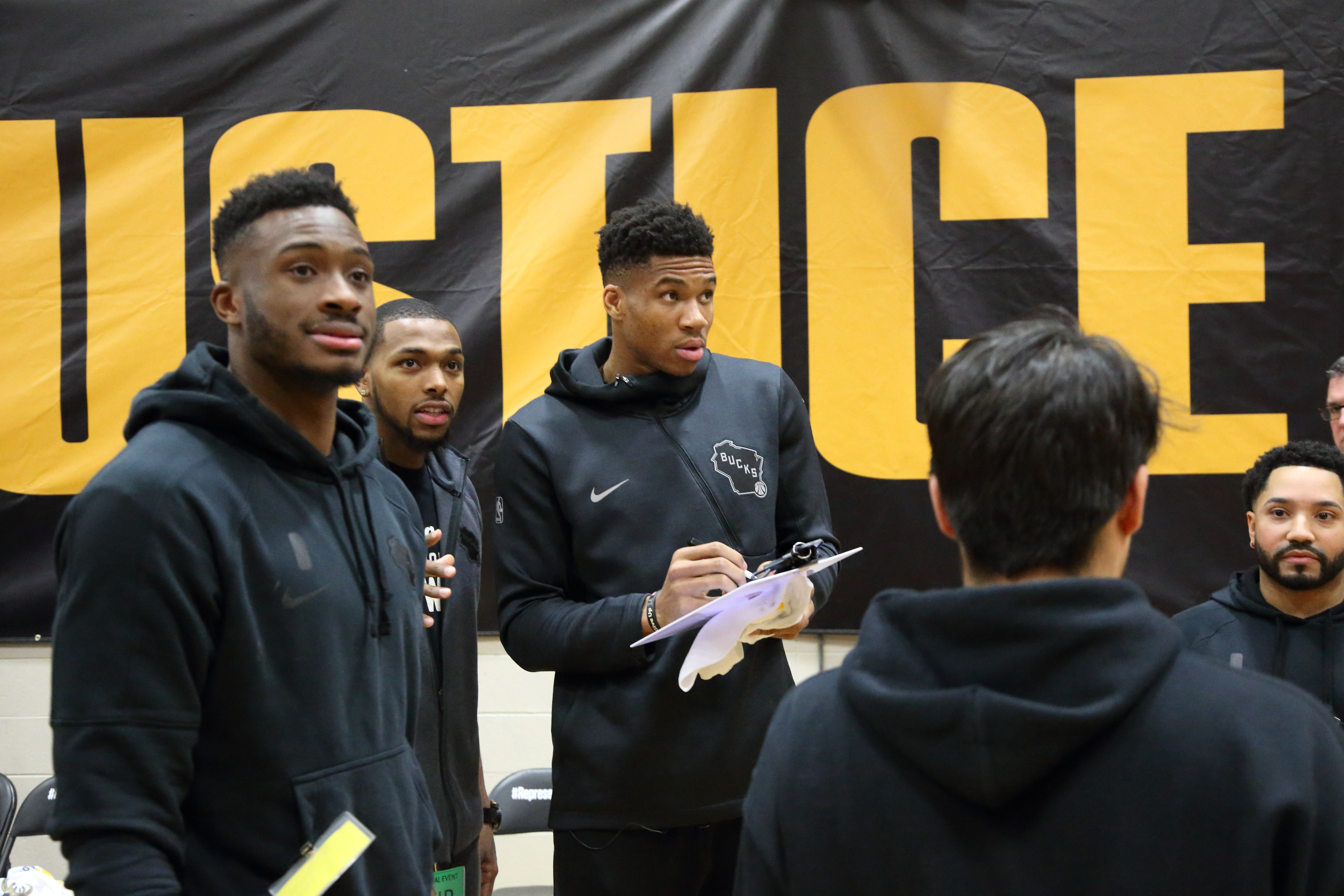 In partnership with REPRESENT JUSTICE Campaign, the Bucks hosted a basketball game Dec. 17, 2019 at Racine Correctional Institution in which members of the coaching staff played with incarcerated individuals, while Bucks players served as coaches.(Gary Dineen/Milwaukee Bucks)