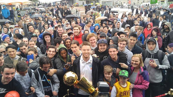 Delly Brings The Larry O'Brien Trophy To Australia | Milwaukee Bucks