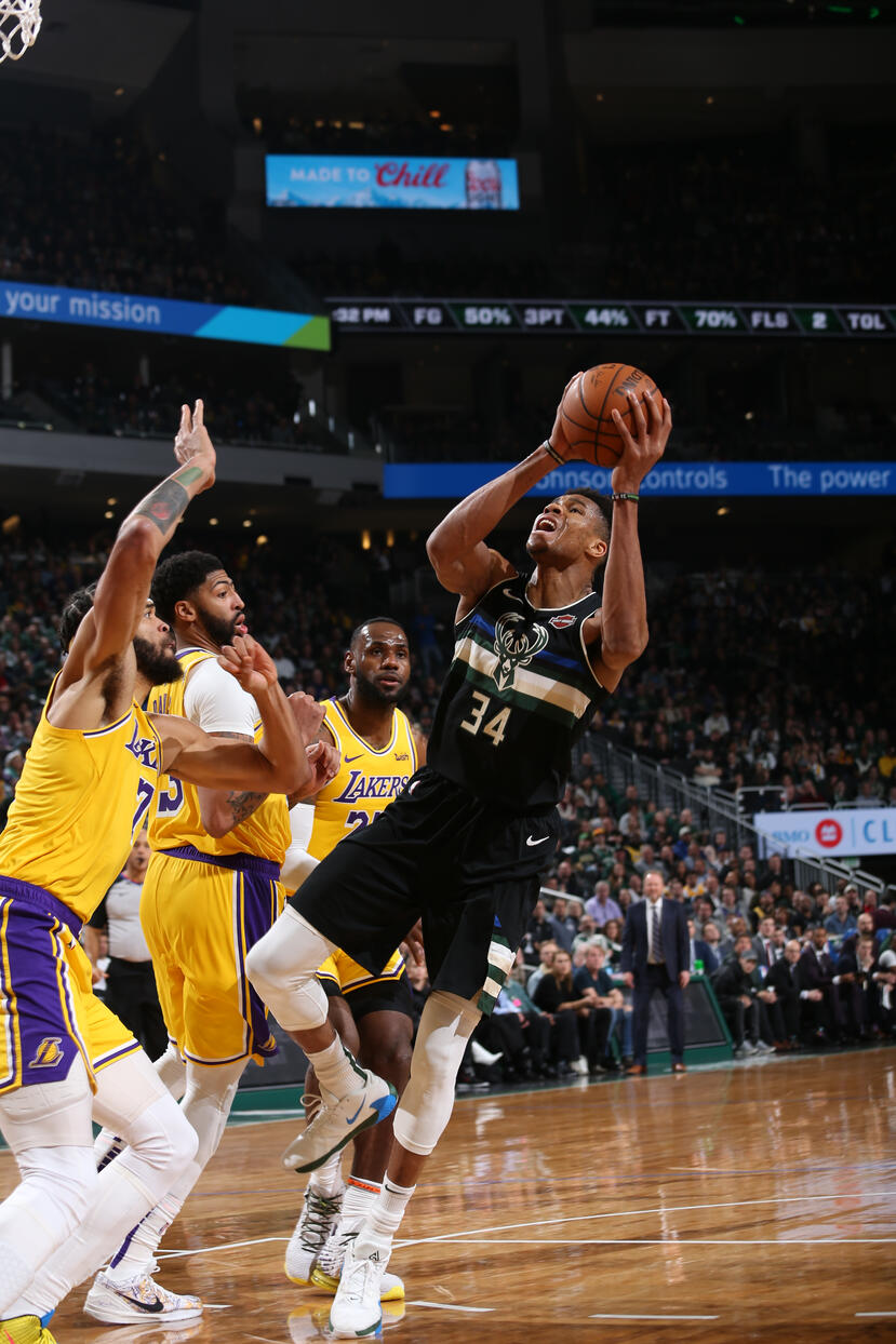 Giannis Antetokounmpo #34 of the Milwaukee Bucks shoots the ball against the Los Angeles Lakers on December 19, 2019 at the Fiserv Forum Center in Milwaukee, Wisconsin. (Gary Dineen/NBAE via Getty Images)