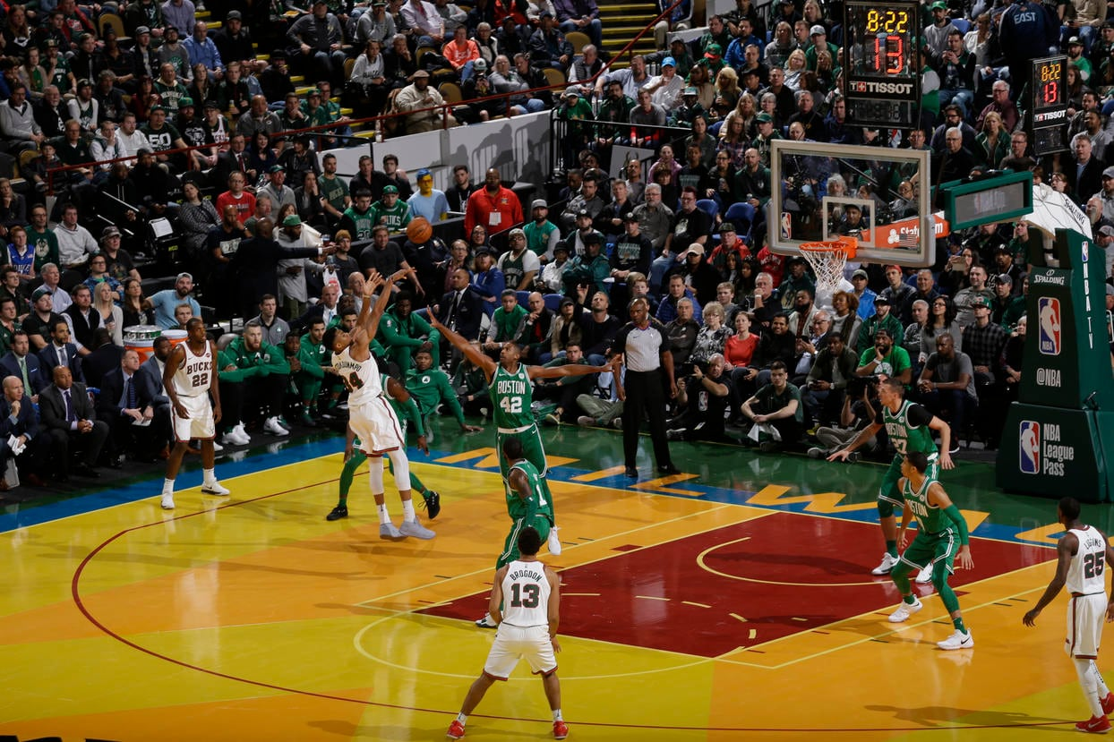38fb3c0bb98 Giannis Antetokounmpo  34 of the Milwaukee Bucks shoots the ball against  the Boston Celtics on