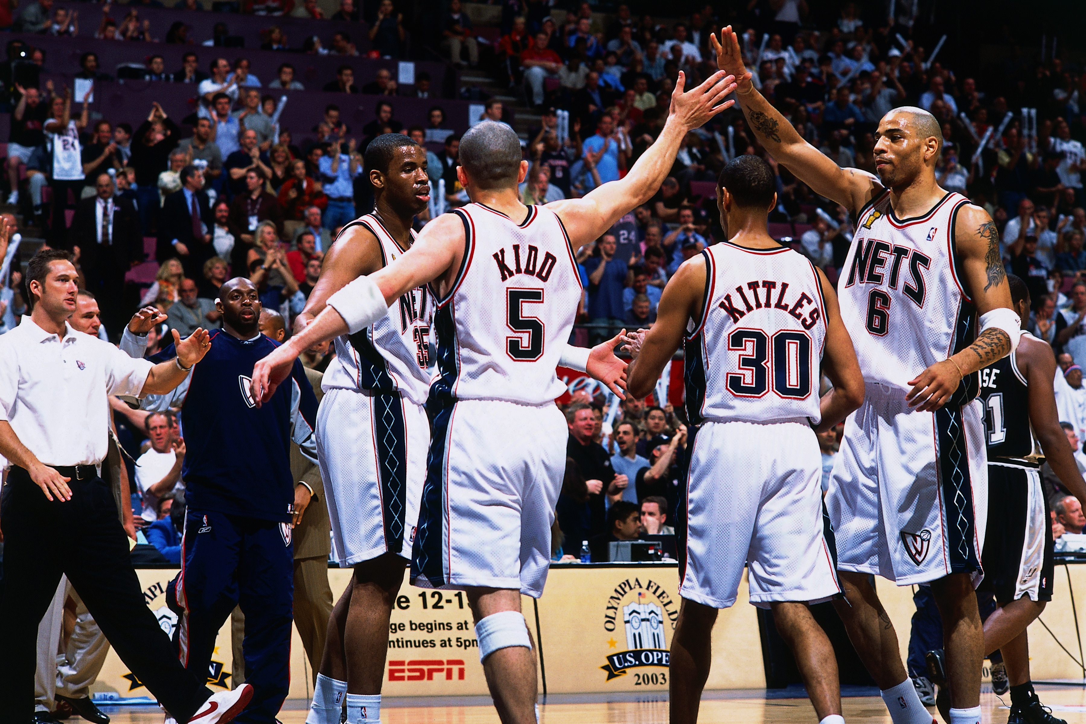 a47b7e5e4ef6 Kenyon Martin  6 and Jason Kidd  5 of the New Jersey Nets celebrate during