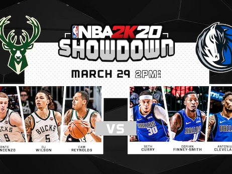 Milwaukee Bucks and Dallas Mavericks Players to Go Head-to-Head in NBA 2K20 Showdown on Sunday