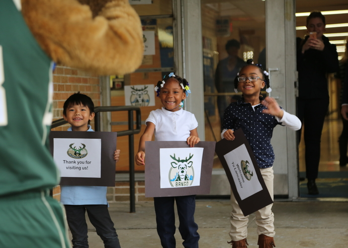 The welcoming committee at Lancaster Elementary School/Express Yourself Milwaukee!(Milwaukee Bucks). Thumbs up for Halloween Costumes!  sc 1 st  NBA.com & Bucks Partner with BuyCostumes.com to Deliver Free Halloween ...