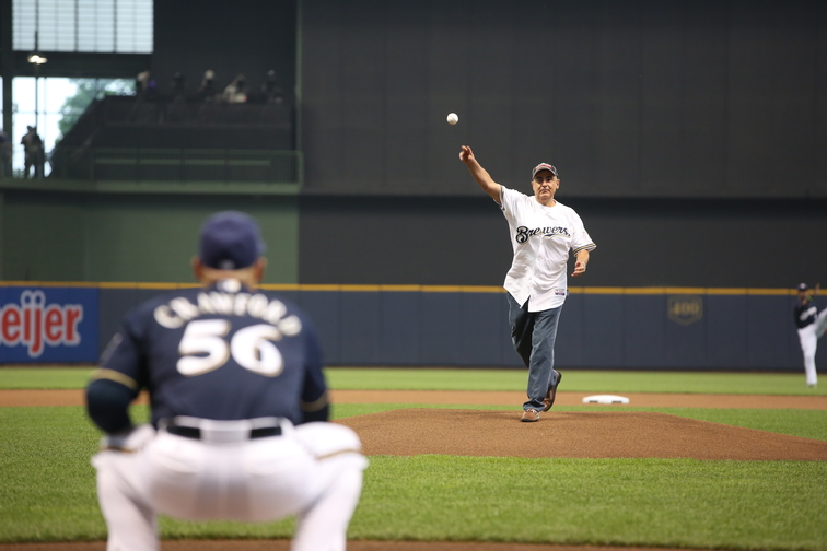 Marc Lasry Throws First Pitch