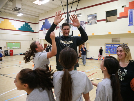 Bucks Host Jr. NBA Clinic with Pat Connaughton and Brook Lopez