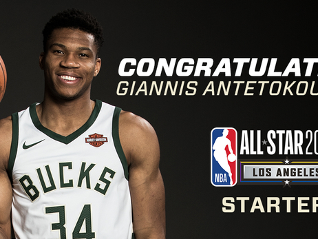 Giannis Antetokounmpo Named a Starter for the 2018 All-Star Game