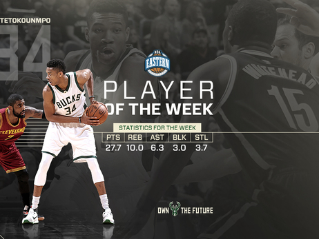 Giannis Antetokounmpo Named NBA's Eastern Conference Player of the Week