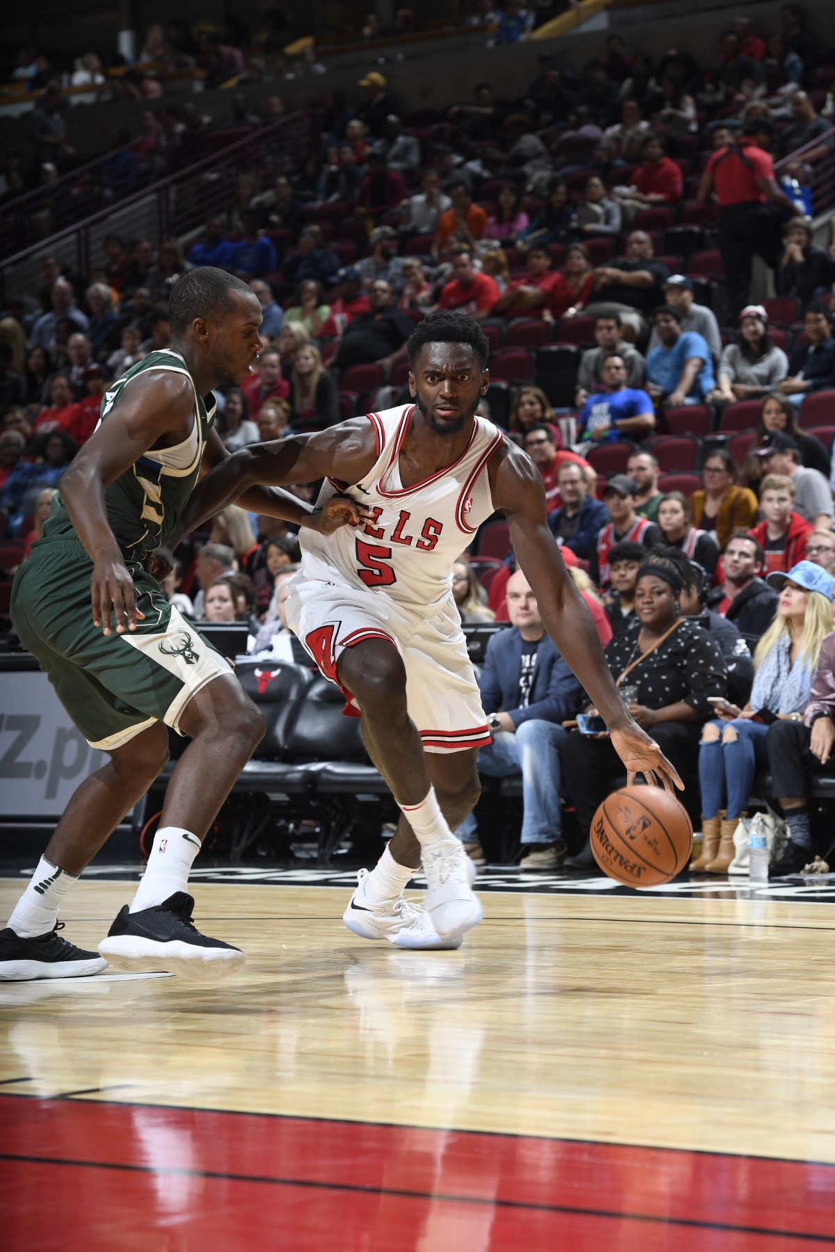 Bobby Portis of the Chicago Bulls dribbling against players of the Milwaukee Bucks, October 6, 2017 at the United Center.