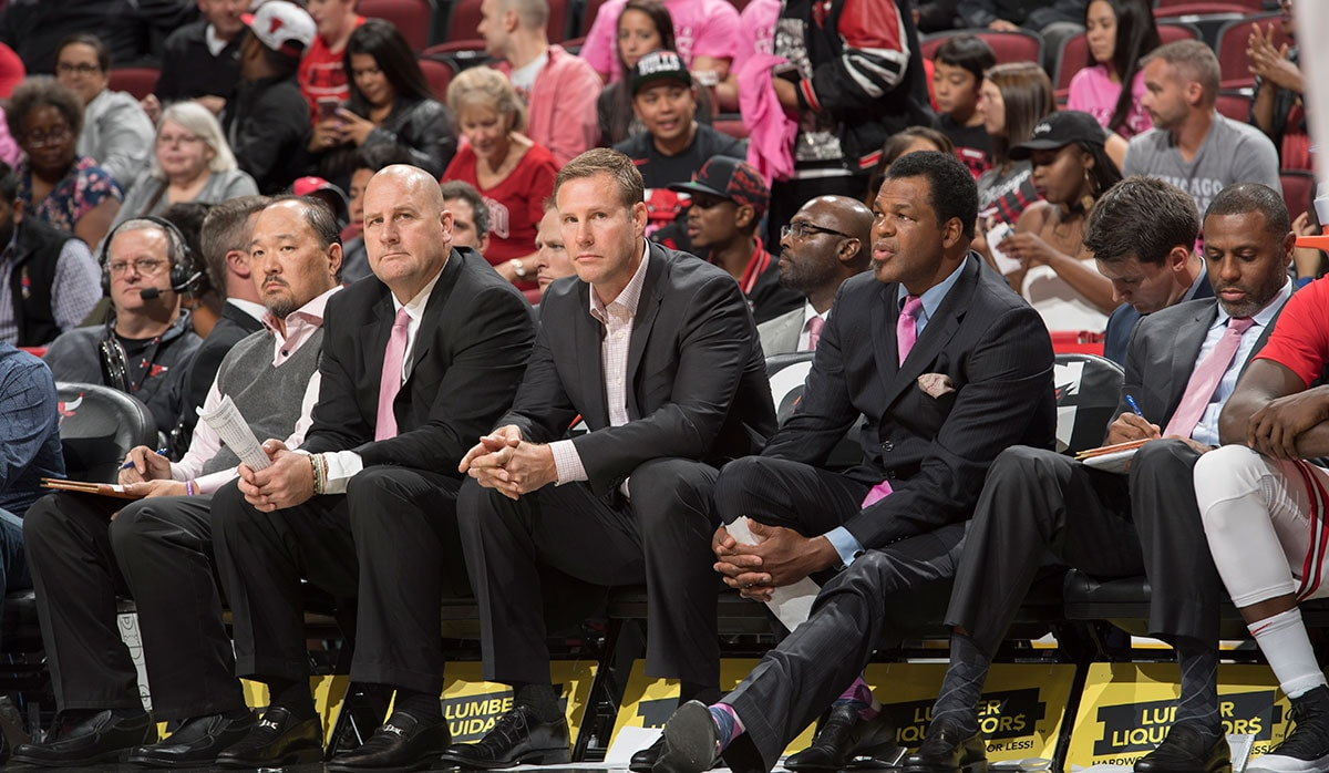 Fred Hoiberg sitting with his assitant coaches during a preseason game against the Toronto Raptors, Friday, October 13, 2017 at the United Center.
