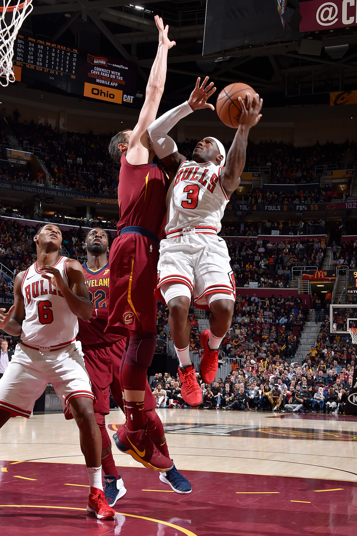 Kay Felder #3 of the Chicago Bulls drives to the basket against the Cleveland Cavaliers on October 24, 2017 at Quicken Loans Arena in Cleveland, Ohio.