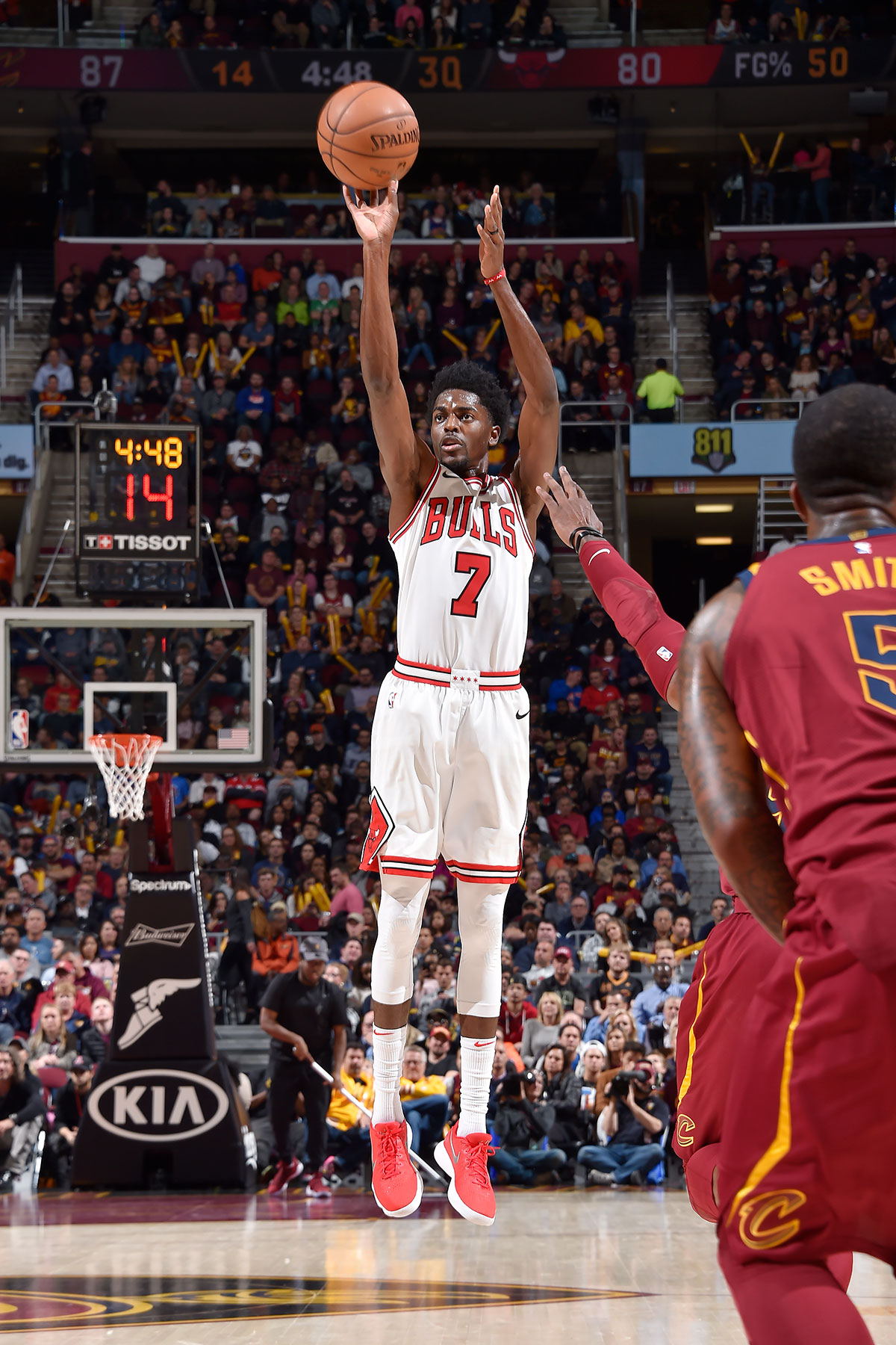 Justin Holiday #7 of the Chicago Bulls shoots the ball against the Cleveland Cavaliers on October 24, 2017 at Quicken Loans Arena in Cleveland, Ohio.