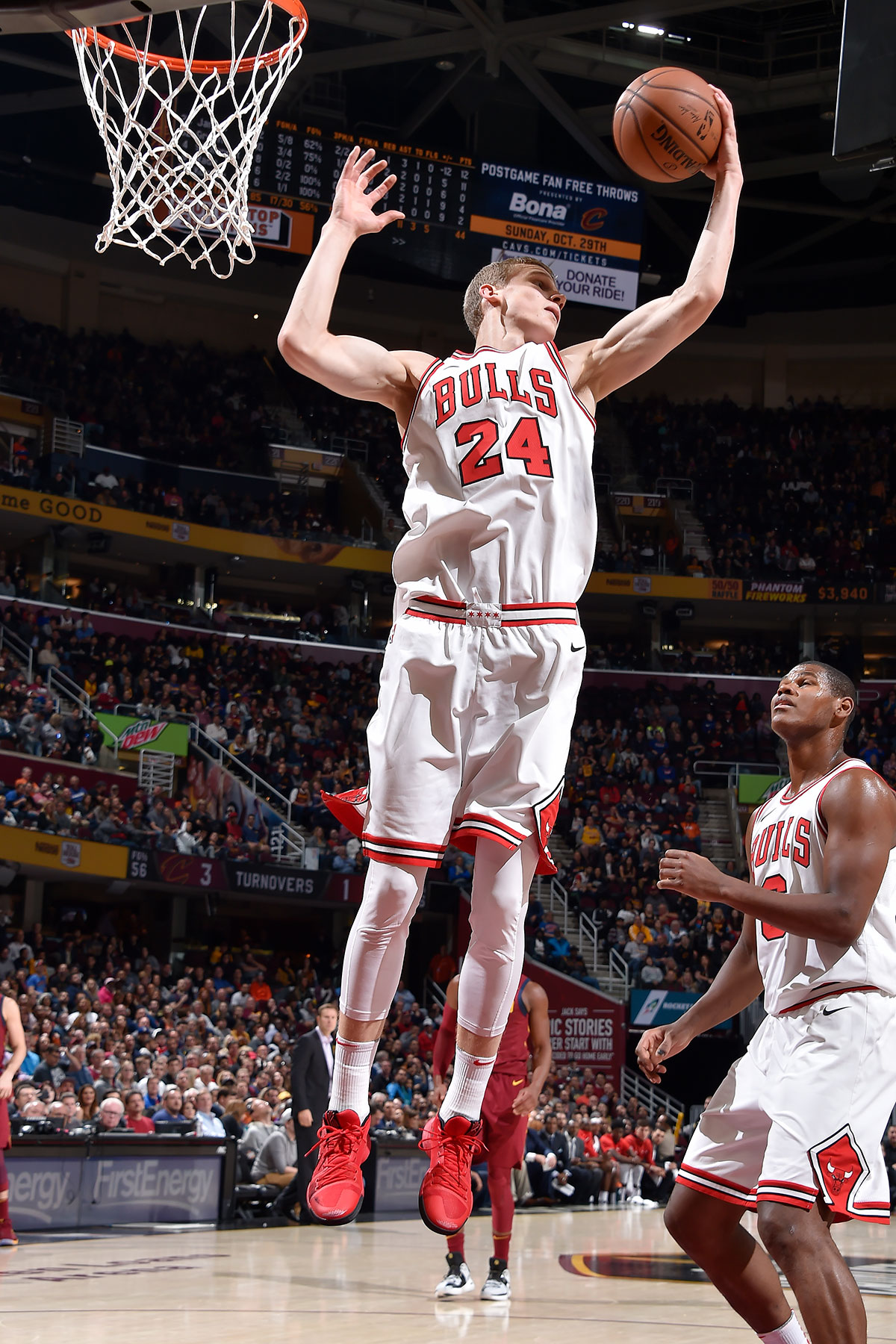 Lauri Markkanen #24 of the Chicago Bulls handles the ball against the Cleveland Cavaliers on October 24, 2017 at Quicken Loans Arena in Cleveland, Ohio.