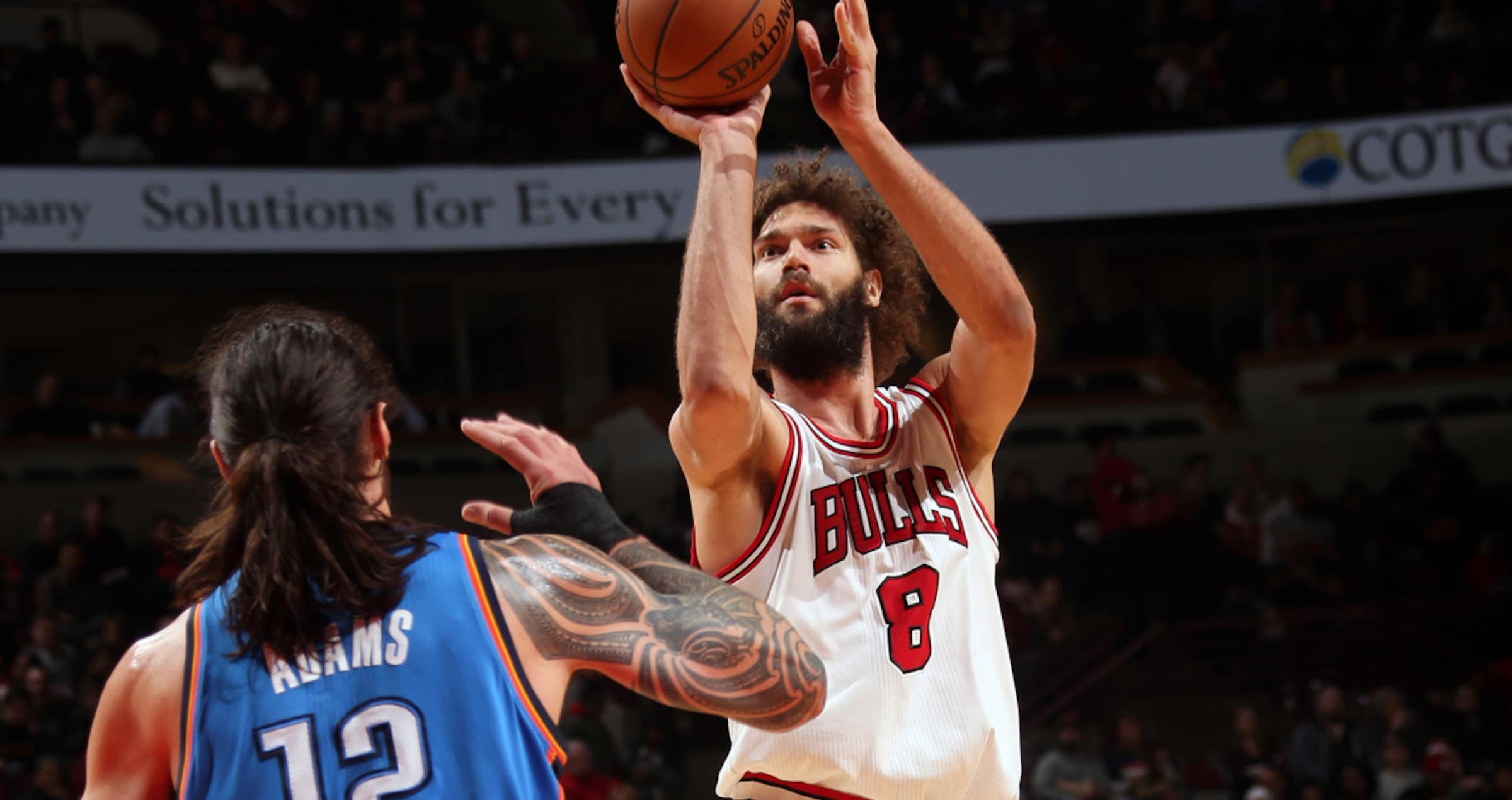 Robin Lopez #8 of the Chicago Bulls shoots the ball against the Oklahoma City Thunder