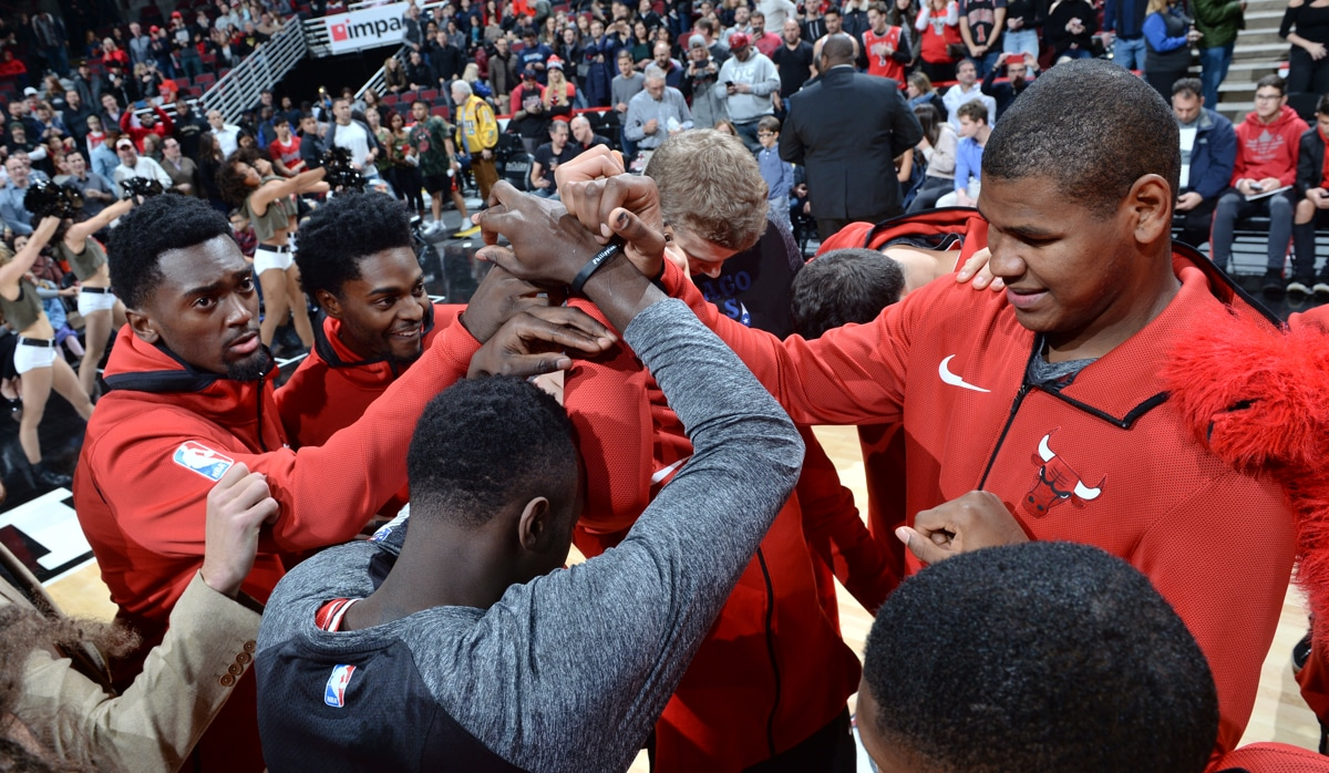 Bulls team huddle prior to game against Indiana Pacers