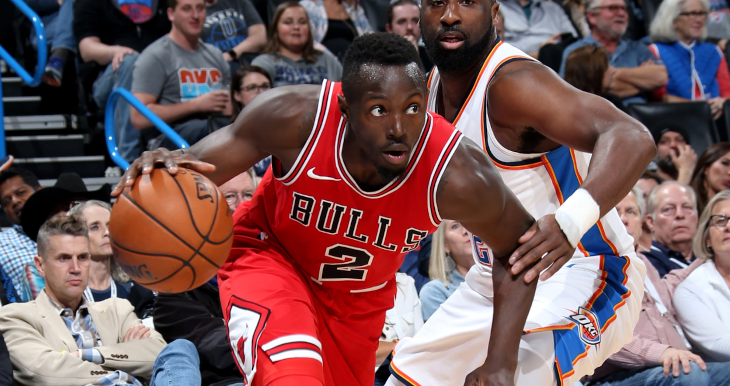 NOVEMBER 15: Jerian Grant #2 of the Chicago Bulls handles the ball during the game against the Oklahoma City Thunder on November 15, 2017 at Chesapeake Energy Arena in Oklahoma City, Oklahoma