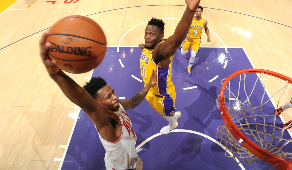 Antonio Blakeney #9 of the Chicago Bulls dunks against the Los Angeles Lakers on November 21, 2017 at STAPLES Center in Los Angeles, California.