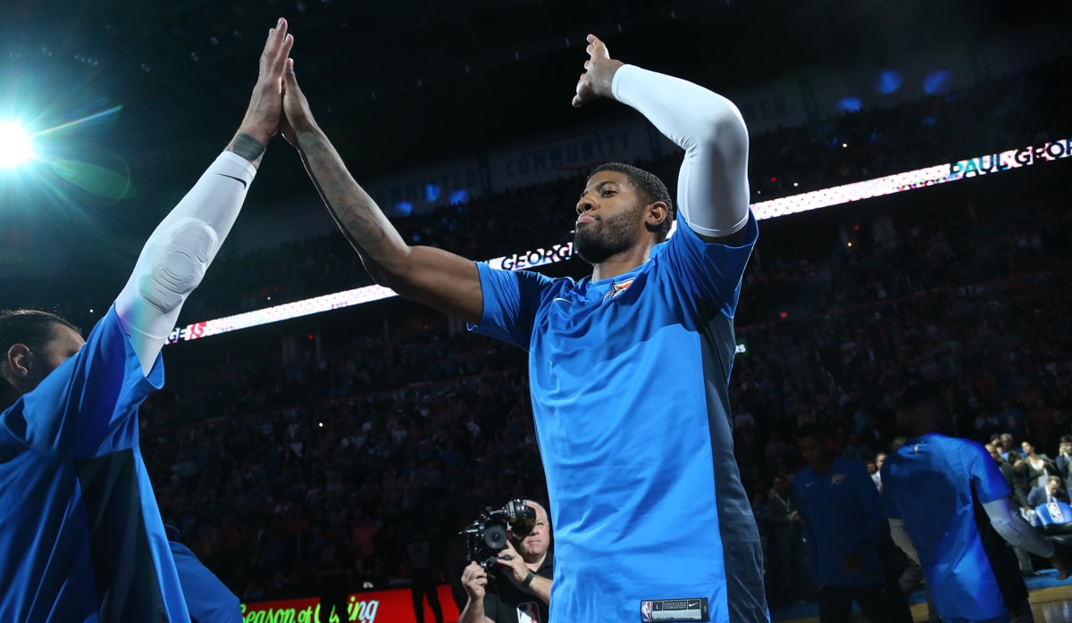 Paul George #13 of the Oklahoma City Thunder is introduced before the game against the Golden State Warriors on November 22, 2017 at Chesapeake Energy Arena in Oklahoma City, Oklahoma.