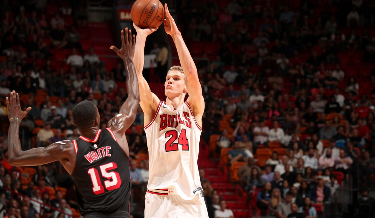 Lauri Markkanen #24 of the Chicago Bulls shoots the ball against the Miami Heat on November 1, 2017 at American Airlines Arena in Miami, Florida.