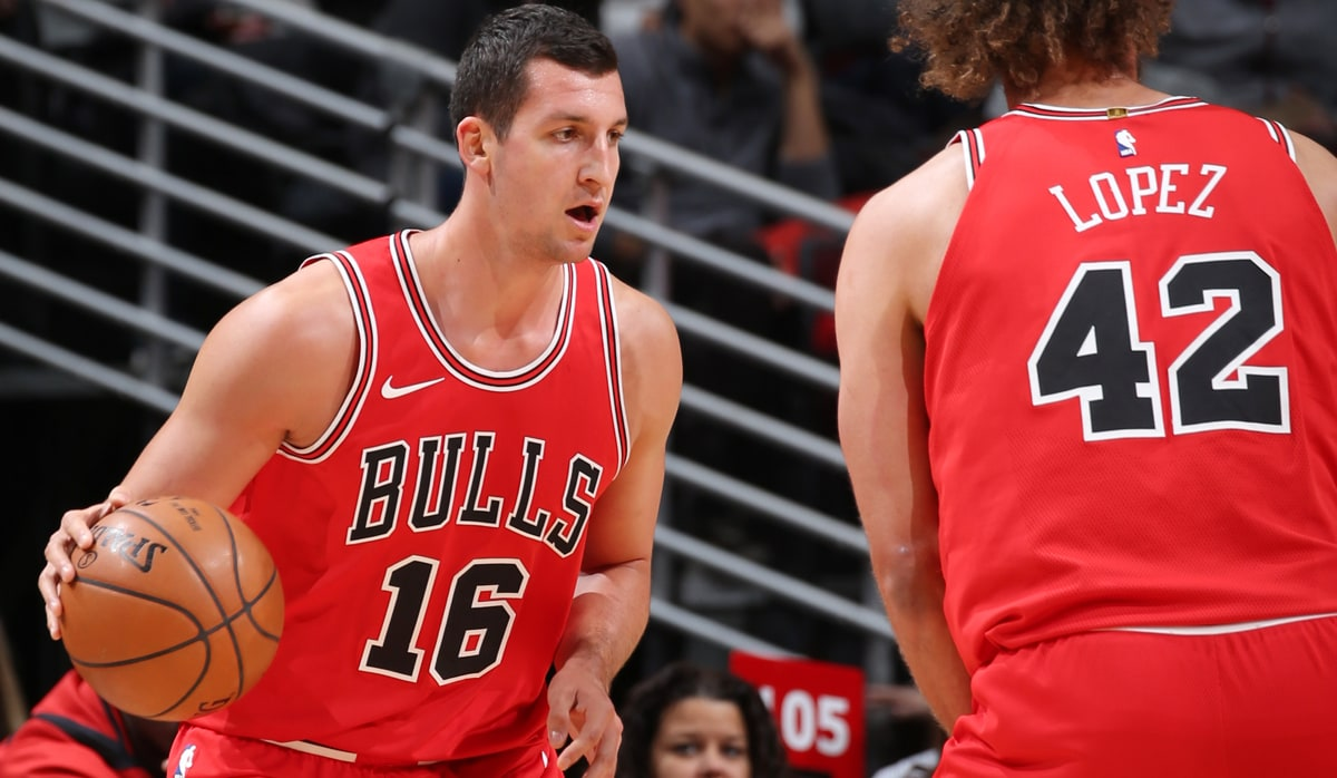 Paul Zipser #16 of the Chicago Bulls handles the ball against the Indiana Pacers on November 10, 2017 at the United Center in Chicago, Illinois