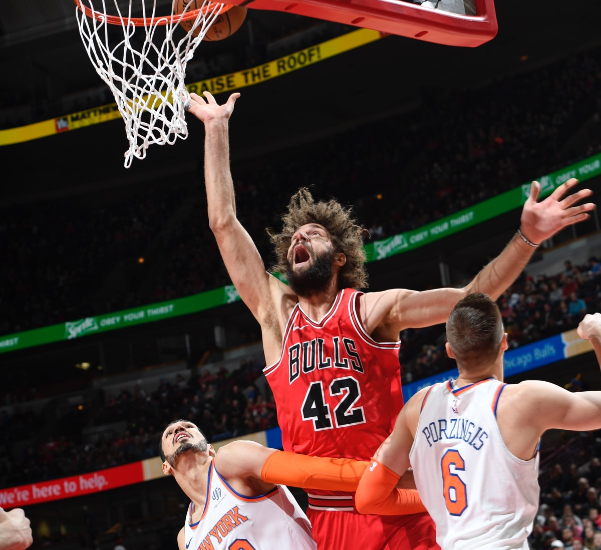 Robin Lopez fights to put the ball in the hoop against the New York Knicks