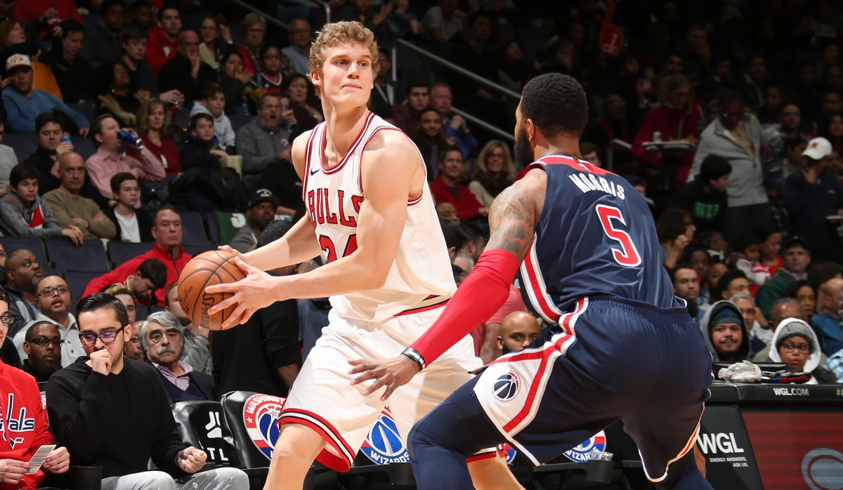 Lauri Markkanen #24 of the Chicago Bulls handles the ball against the Washington Wizards on December 31, 2017 at Capital One Arena in Washington, DC.