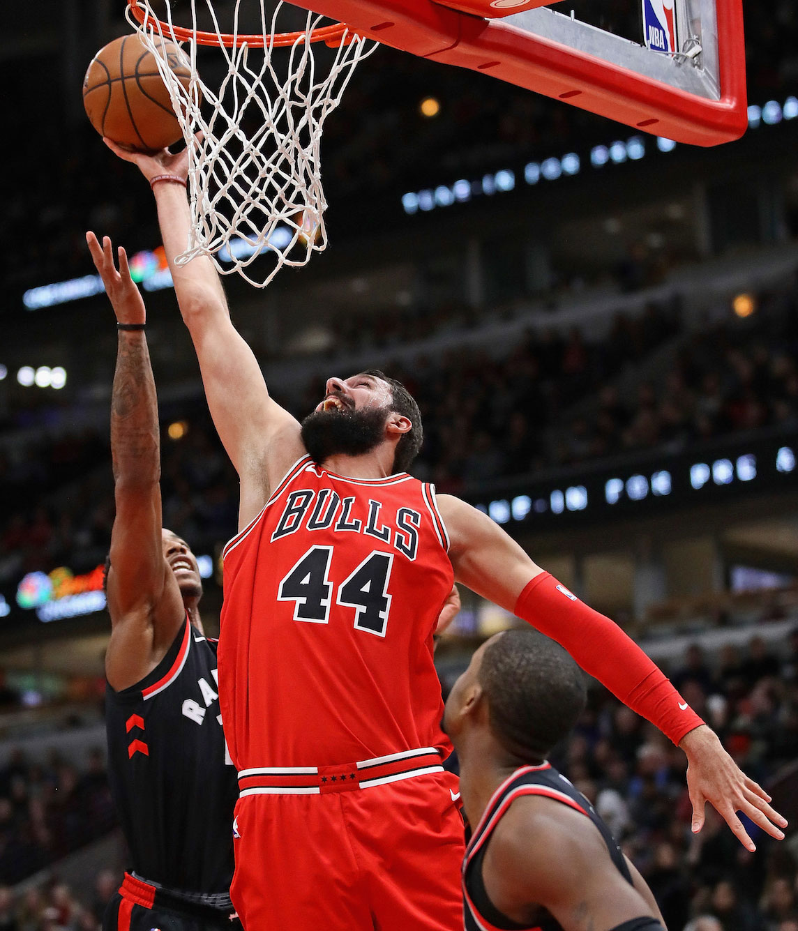 Nikola Mirotic looking for a rebound.