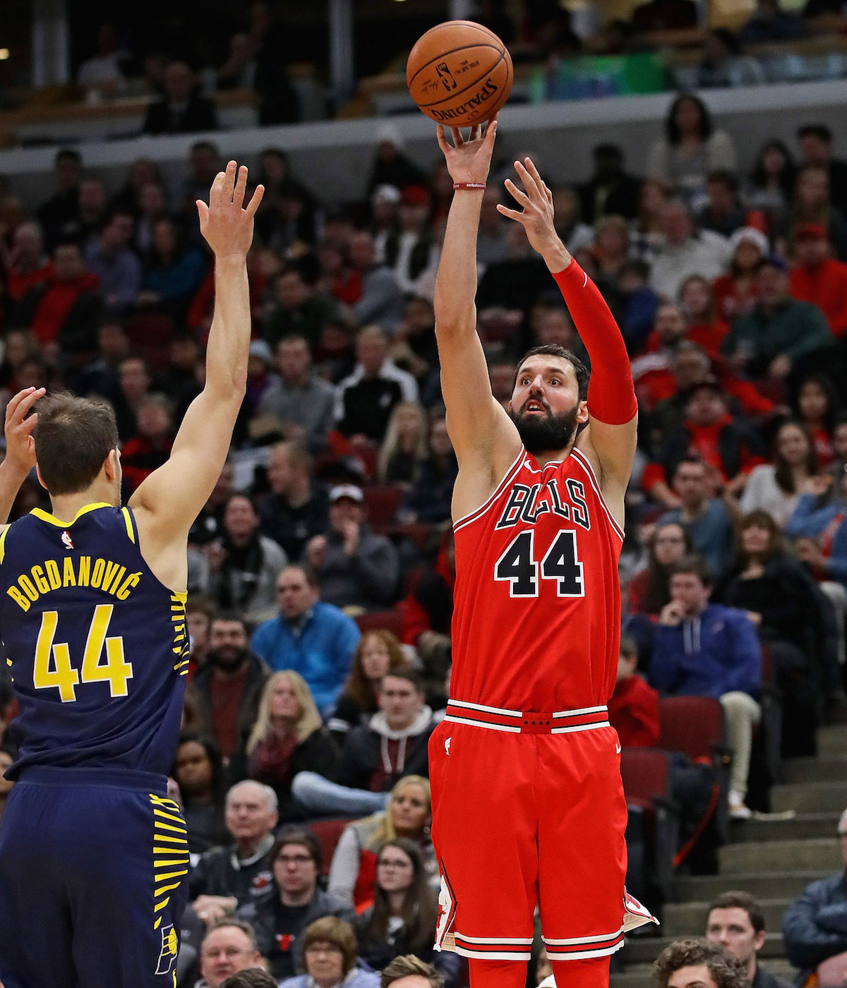 Nikola Mirotic shooting the basketball.