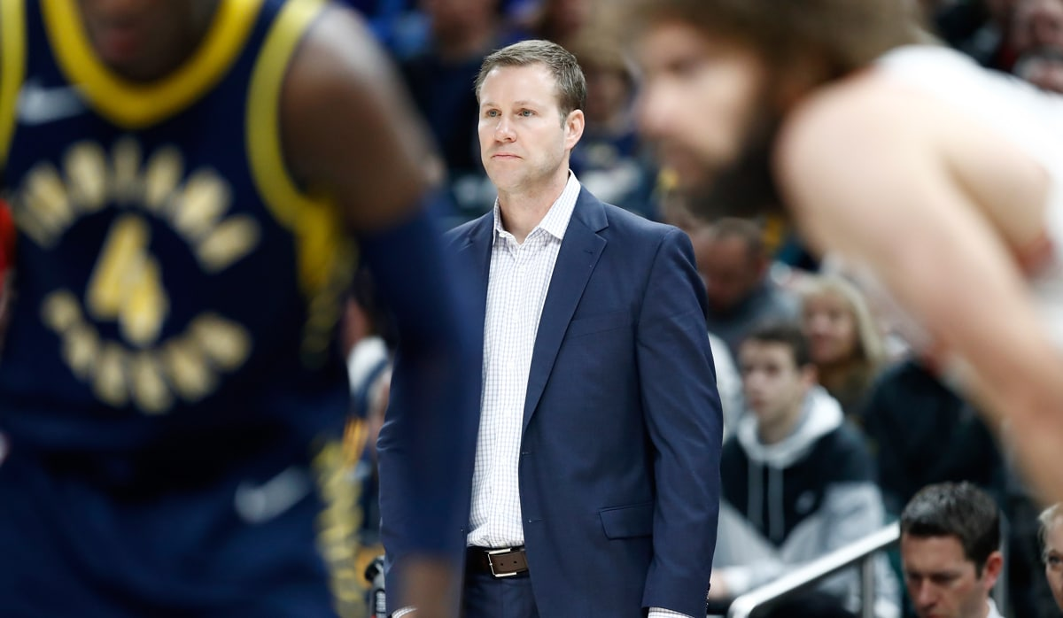 Fred Hoiberg on the sidelines against the Indiana Pacers