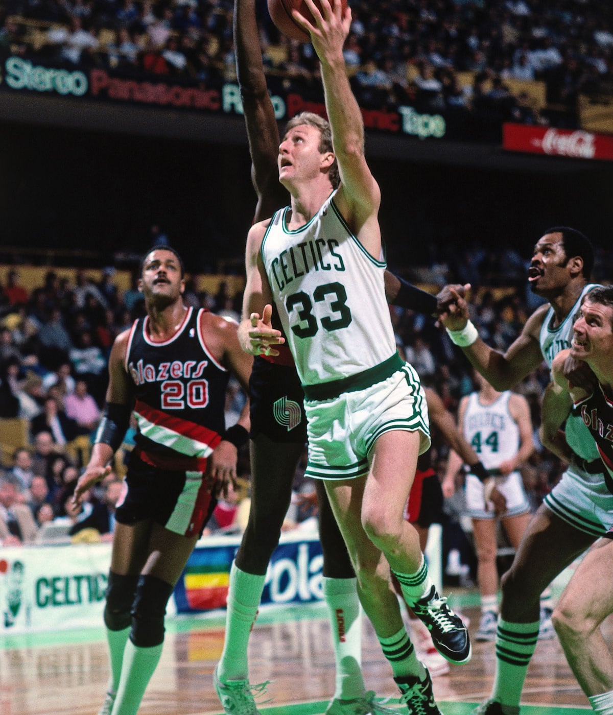 Larry Bird #33 of the Boston Celtics shoots a layup during a game against the Portland Trail Blazers circa 1986 at the Boston Garden in Boston, Massachusetts.