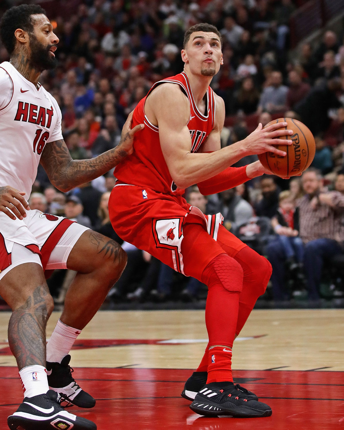 Zach LaVine looking to make a move to the basket against the Miami Heat.