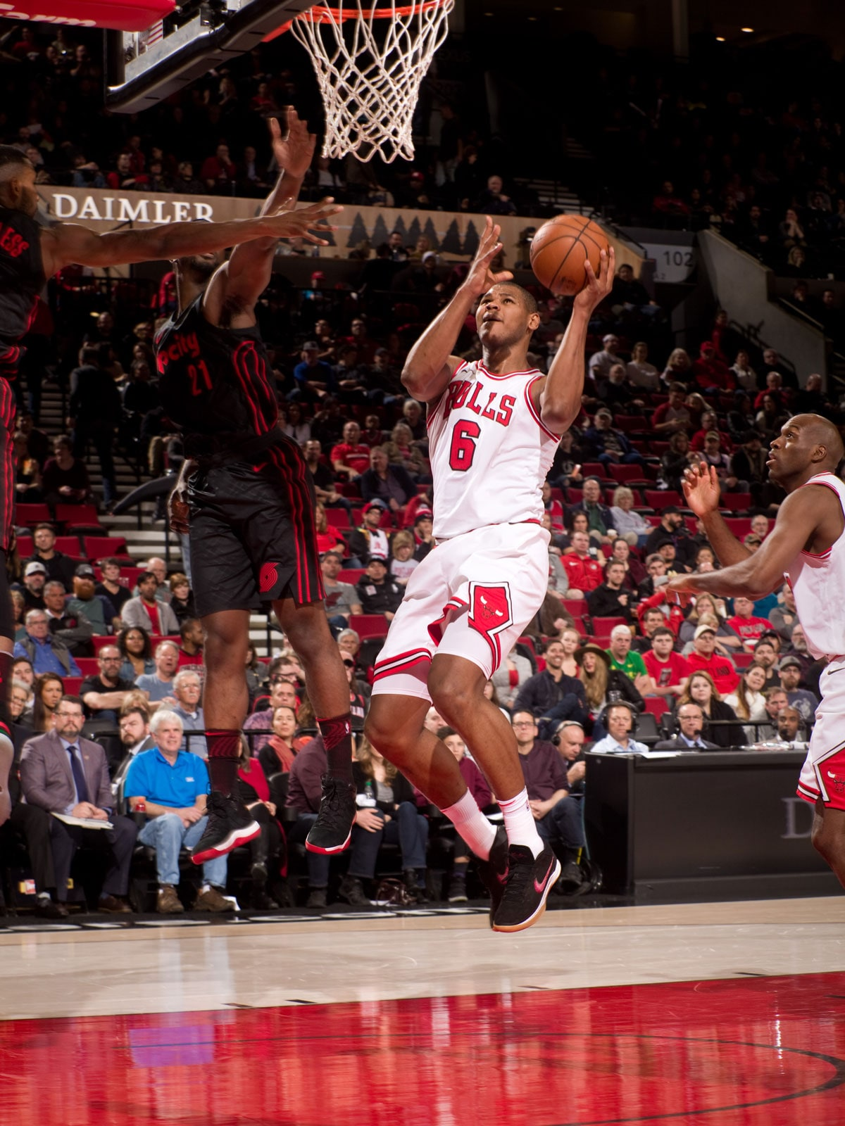 Cristiano Felicio #6 of the Chicago Bulls shoots the ball during the game against the Portland Trail Blazers on January 31, 2018 at the Moda Center Arena in Portland, Oregon.