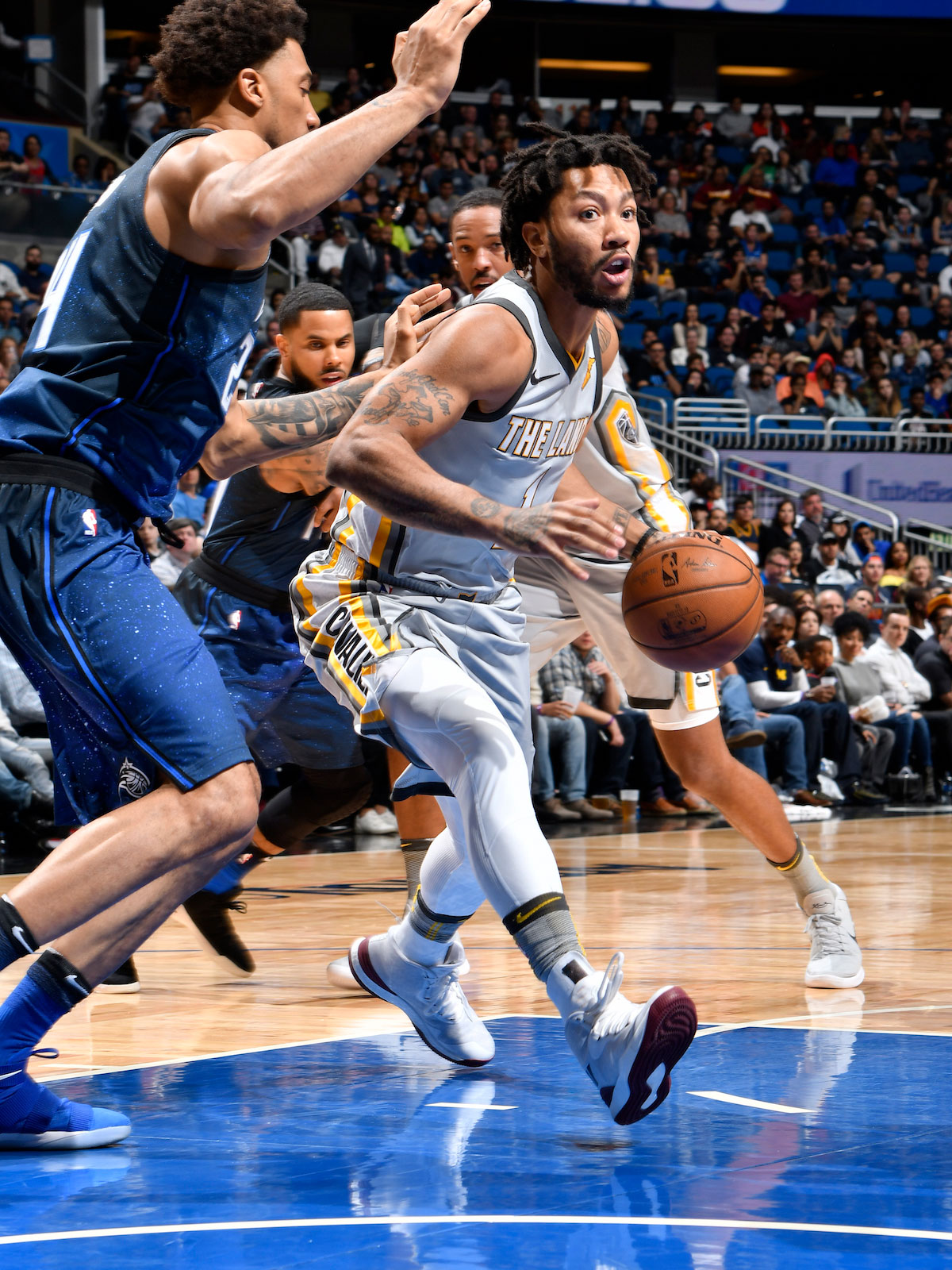 Derrick Rose #1 of the Cleveland Cavaliers handles the ball against the Orlando Magic on February 6, 2018 at Amway Center in Orlando, Florida.