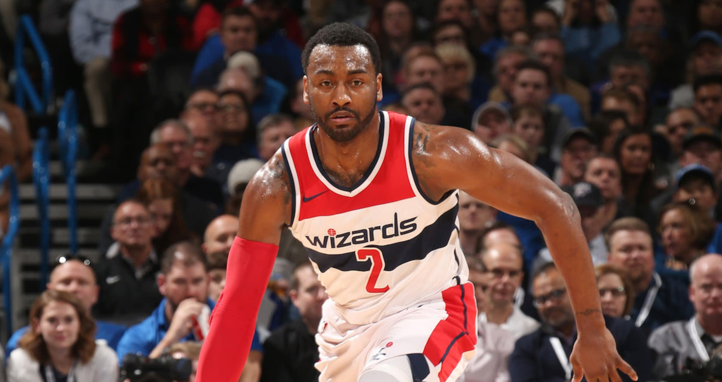 John Wall #2 of the Washington Wizards handles the ball during the game against the Oklahoma City Thunder on January 25, 2018 at Chesapeake Energy Arena in Oklahoma City, Oklahoma.