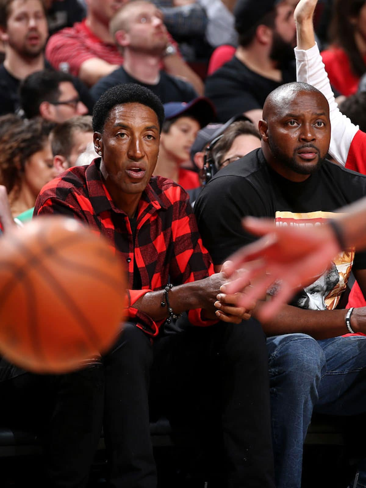 Former NBA players Scottie Pippen and Horace Grant are seen at the game between the Chicago Bulls and the Boston Celtics in Game Four during the Eastern Quarterfinals of the 2017 NBA Playoffs on April 23, 2017 at the United Center in Chicago, Illinois
