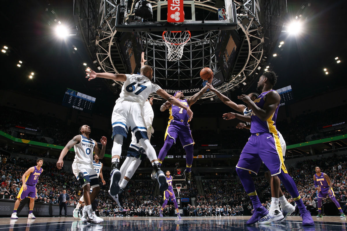 Isaiah Thomas #7 of the Los Angeles Lakers shoots the ball during the game against the Minnesota Timberwolves on February 15, 2018 at Target Center in Minneapolis, Minnesota.