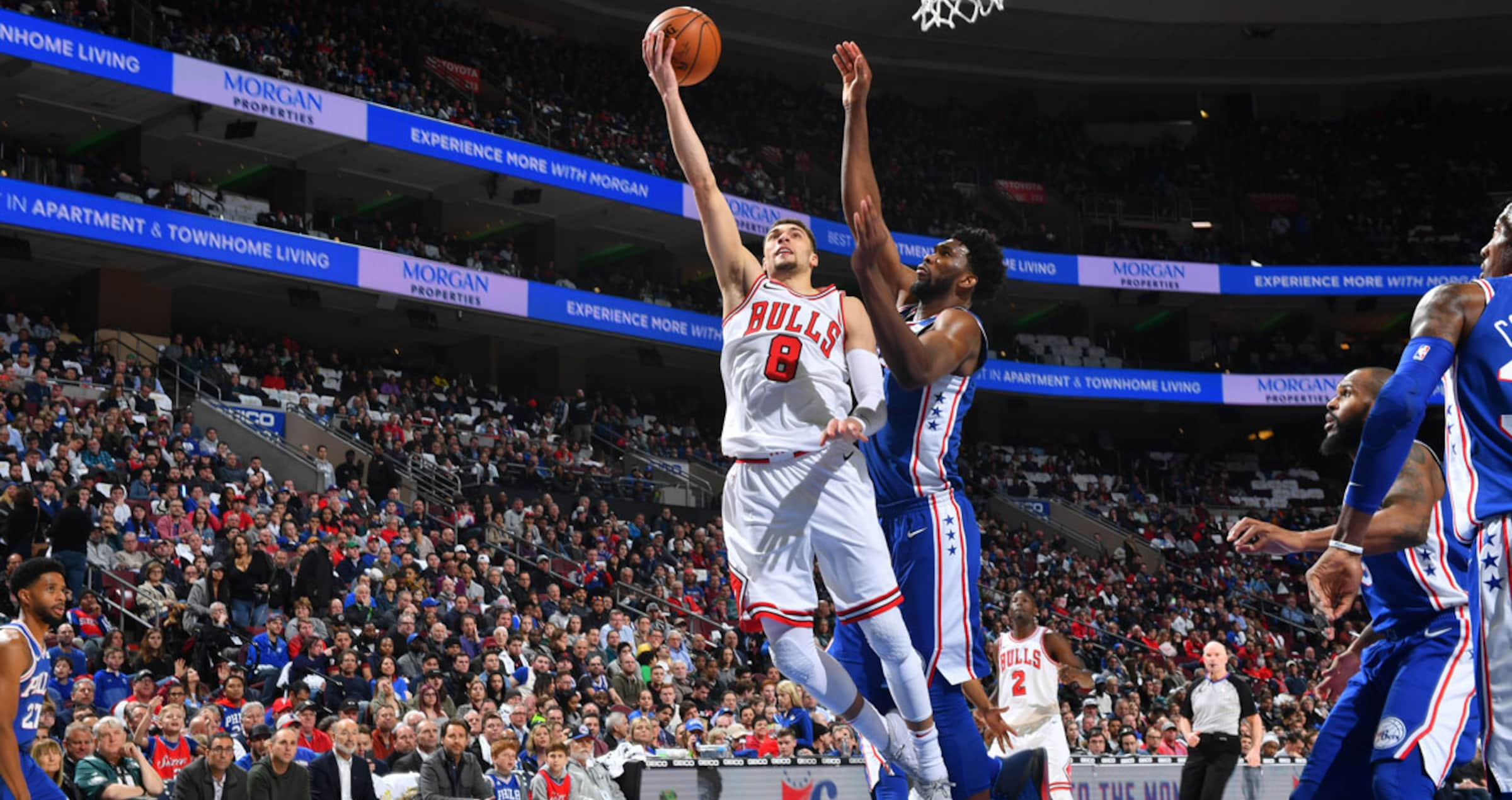 Zach LaVine attempting a layup against the Philadelphia 76ers