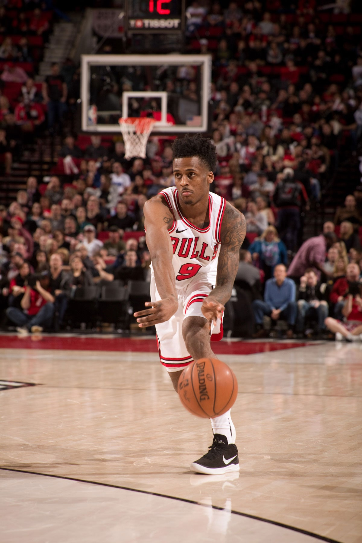 Antonio Blakeney #9 of the Chicago Bulls handles the ball during the game against the Portland Trail Blazers on January 31, 2018 at the Moda Center Arena in Portland, Oregon.