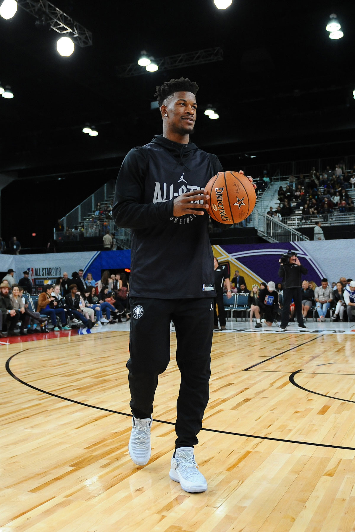Jimmy Butler #23 of Team Stephen dribbles the ball during NBA All-Star Media Day & Practice as part of 2018 NBA All-Star Weekend at the Los Angeles Convention Center on February 17, 2018 in Los Angeles, California.
