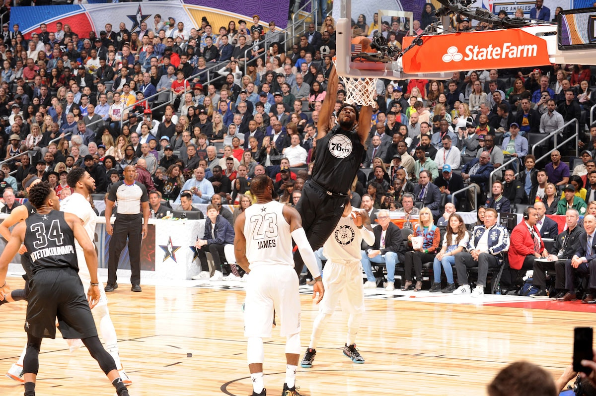 Joel Embiid #21 Of Team Stephen dunks the ball during the NBA All-Star Game as a part of 2018 NBA All-Star Weekend at STAPLES Center on February 18, 2018 in Los Angeles, California.