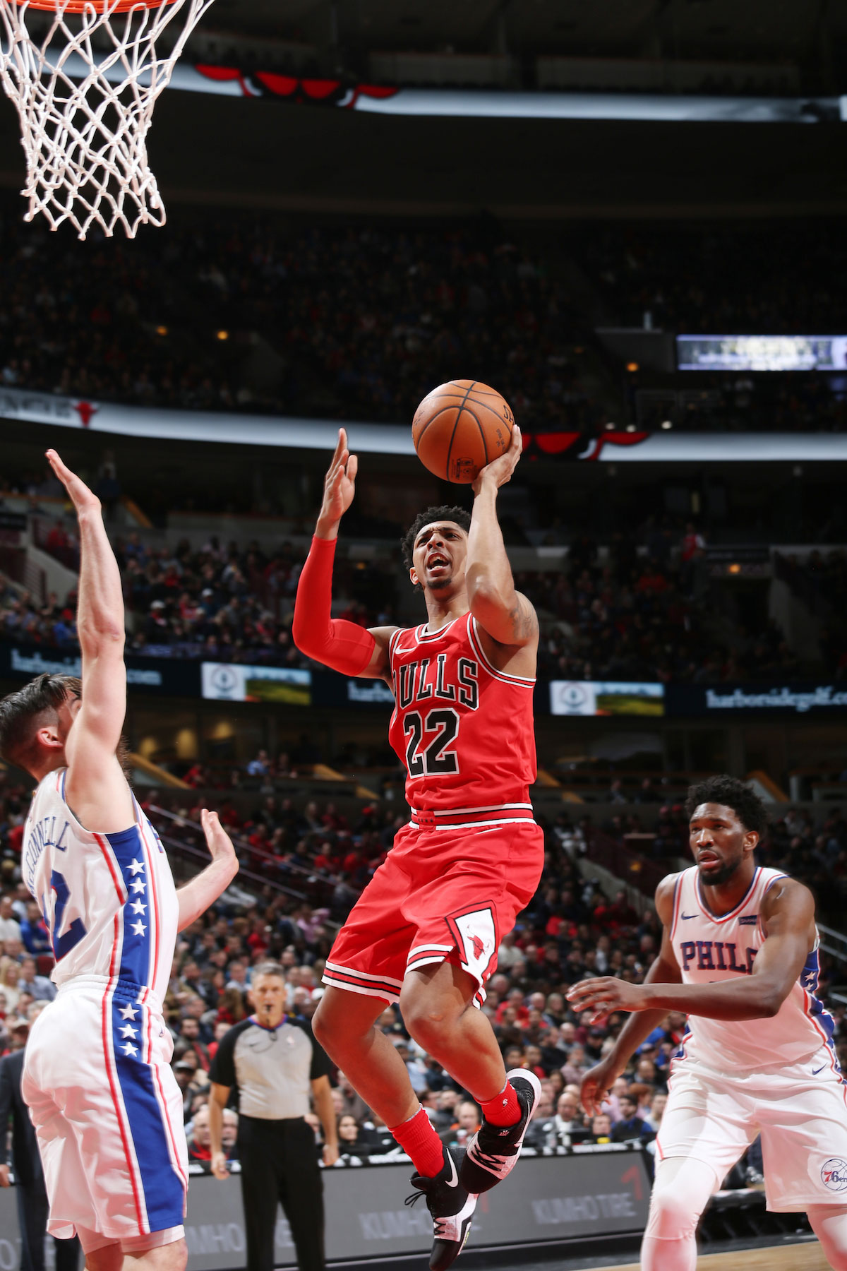 Cameron Payne #22 of the Chicago Bulls dunks against the Philadelphia 76ers on February 22, 2018 at the United Center in Chicago, Illinois.