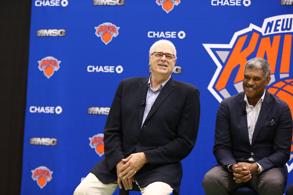 New York Knicks President Phil Jackson and General Manager Steve Mills, during a press conference introducing the Knicks new free agent signings at the Madison Square Garden Training Facility on July 8, 2016 in Greenburgh, New York.