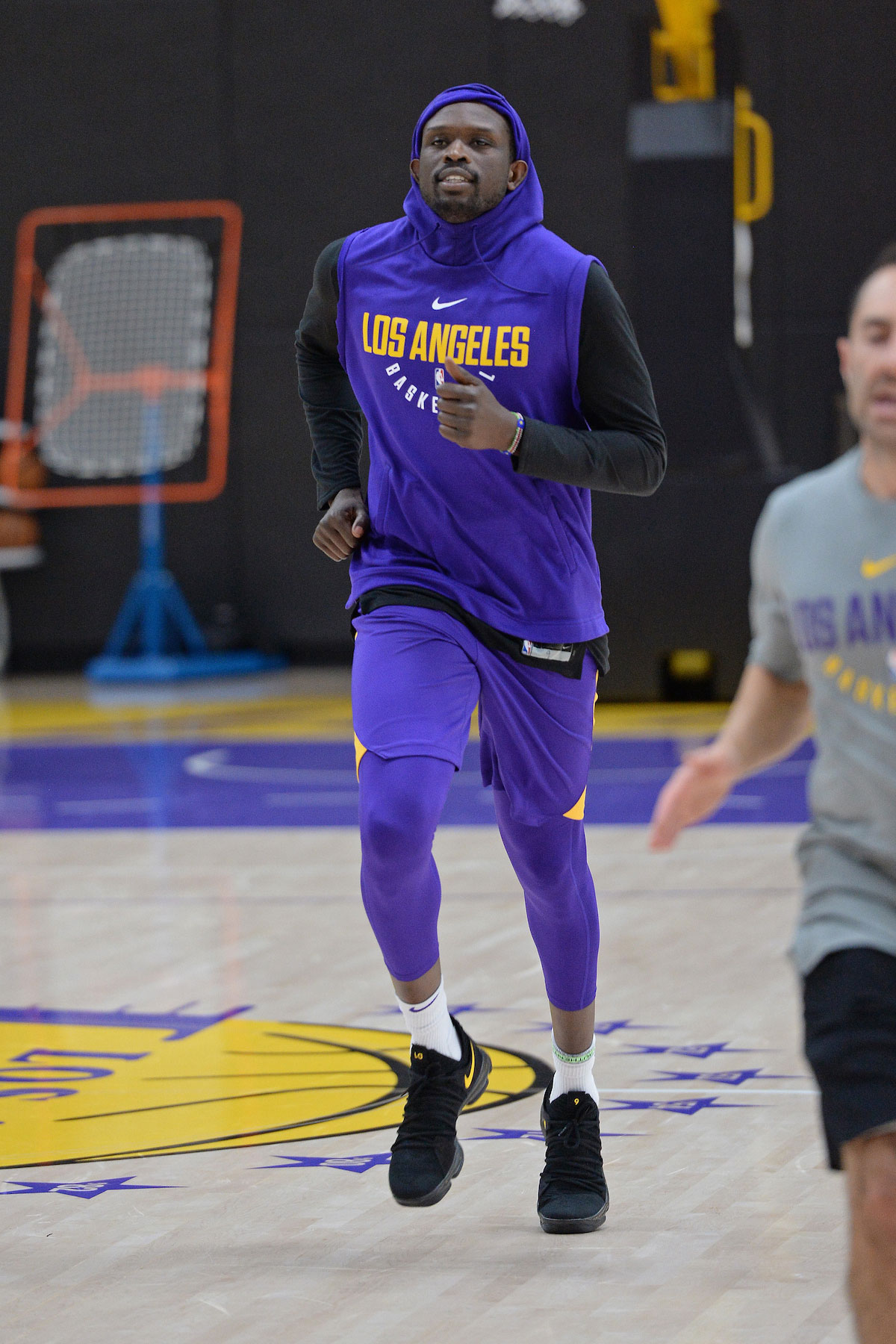 Luol Deng #9 of the Los Angeles Lakers runs up court during an all access practice on February 12, 2018 at UCLA Heath Training Center