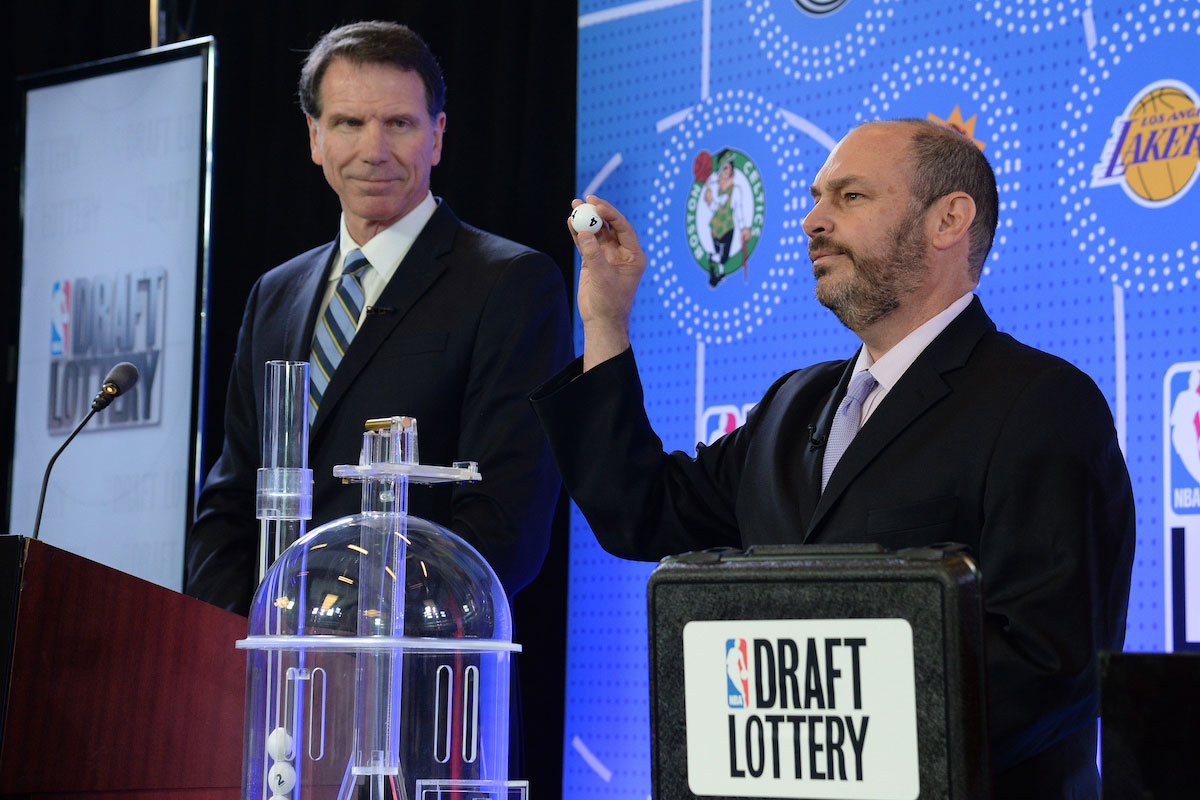 The lottery drawing begins inside the lottery room during the 2017 NBA Draft Lottery at the New York Hilton in New York, New York